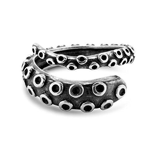 Pulpo Tentáculo Anillo Tamaño Ajustable Plata de ley 925 by Serebra Jewelry (Oscuro)