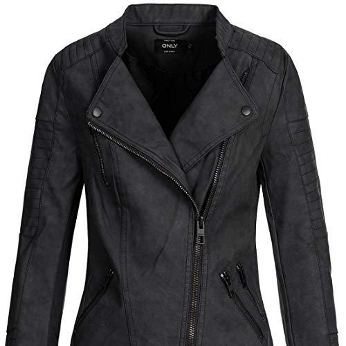 ONLY Onlava Pu Biker Otw Noos - Chaqueta para mujer, color negro, talla 38