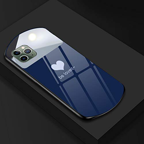QinyeThree Luxury Cute Oval Heart-Shaped Tempered Glass Phone Case, Oval Shaped Tempered Glass Case for iPhone 12 11 Pro MAX XSmax XR X SE 8 7 6 Plus For IP 7plus/8plus Blue