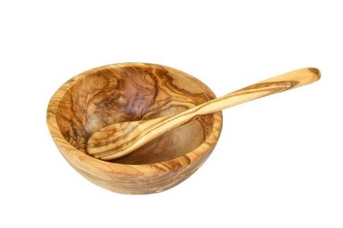 D.O.M. Die Olivenholz-Manufaktur - Tazza da müsli in legno di olivo, con cucchiaio