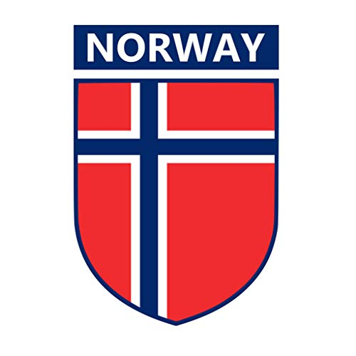TENNER.LONDON Stoffapplikation, Norwegen-Flagge, Wappen, zum Aufbügeln, Siebdruck, maschinenwaschbar, Norwegische Flagge, 5 Stück