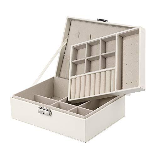 Seavish ジュエリーボックス 大容量 2段 コンパクト ジュエリー収納 宝石箱 レザー ジュエリーケース アクセサリーボックス 小物入れ 鍵付き 贈り物 プレゼント レディース ホワイト