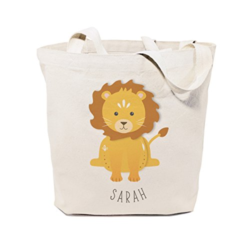 The Cotton & Canvas Co. Personalized Lion Beach, Shopping and Travel Reusable Shoulder Tote and Handbag for Kids, Teens, Adults