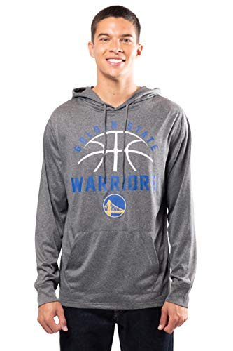 Ultra Game NBA Golden State Warriors Mens Super Soft Lightweight Pullover Hoodie, Heather Charcoal , Large