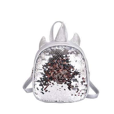 BETOY Mini Sequin mochila de moda, brillante, brillante, con lentejuelas, unicornio, lentejuelas, mochila escolar, Unicorn, mochila infantil, Niño, brillante, plata