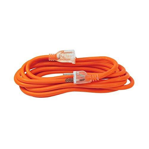 ALEKO ECOI143G15FT Heavy Duty Extension Cord Indoor Outdoor with Lighted Plug ETL Certified SJTW Plug 14/3 Gauge 125 Volt 15 Feet Orange