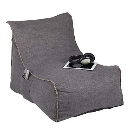Relaxdays Sitzsack mit Lehne, XXL Bodenkissen Erwachsene, weich, Indoor, Schaumstoff Füllung, Riesensitzsack, grau, 1 stück, 10034415
