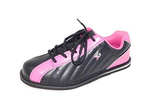Bowling-Schuhe, 3G Kicks, Damen und Herren, für Rechts- und Linkshänder in 7 Farben Schuhgröße 36-48 (schwarz-pink, 38 (US-D 8))