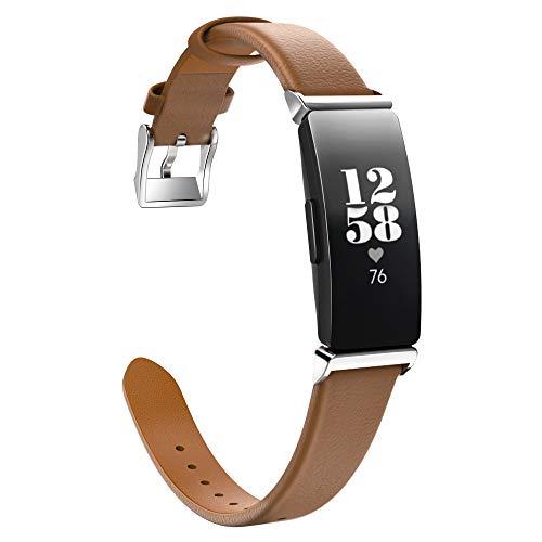 MoKo Armband Kompatibel mit Fitbit Inspire/Inspire HR/Inspire 2, Klassisches Echt Leder Uhrenarmband Lederarmband Erstatzband Uhr Band Watchband mit Metallschließe - Braun