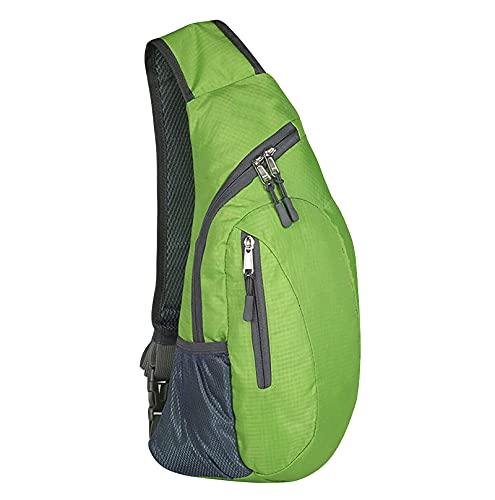 ZhaZhaMeng Bolsa de pecho unisex para mujeres y hombres, bolsa de pecho con correa impermeable, bandolera para viajes, verde, talla única