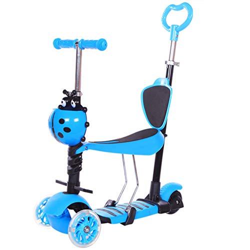 TOYS 5-In-1 Kinder Roller Scooter Kinderscooter, 3-Rad-Roller Kick-Roller Mit Verstellbarem Abnehmbarem Sitz Und...