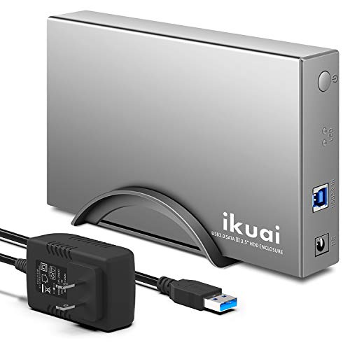 Hard Drive Enclosure ikuai USB 3.0 to SATA HDD Dock Aluminum External Hard Drive Case for 3.5 inch HDD SSD, Support UASP and 16TB Drives(Silver)