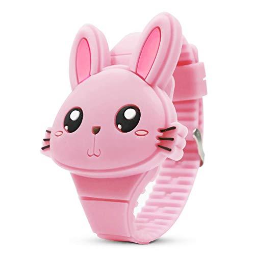 Montre Enfant Filles Numérique - Mignonne en Forme de Lapin Rose Montre Fille - LED Dessin Animé Animal Mode Outdoor Calendrier Montres Enfant avec Bande de Silicone
