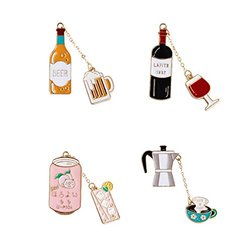RQZQ Broche Mode Sieraden Accessoires Metaal Emaille Leuke Koffie Bier Sap rode Wijn Metalen Broche Decoratieve pin