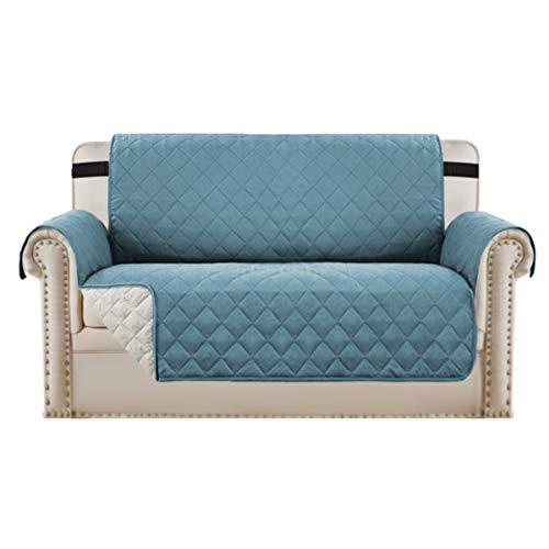BellaHills Protectores de sofá Impermeables de 2 plazas de Mascotas/Perros Fundas de sofá Fundas de Muebles Antideslizantes Color Reversible (2 plazas, Azul/Beige)