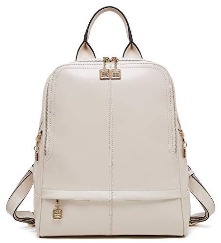 Boyatu Rucksack aus echtem Leder für Damen, elegant, modisch, Reisen, Schultasche, Beige - beige - Größe: Einheitsgröße