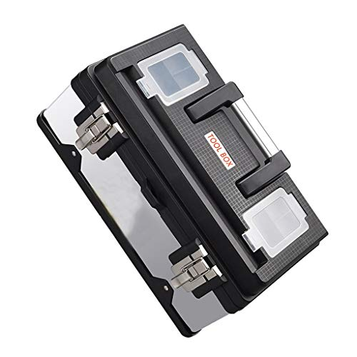 Cajas de piezas pequeñas 17 pulgadas de acero inoxidable caja de herramientas de múltiples funciones del hogar de hardware portátil Kit de reparación adicional cerradura de acero Caja de almacenamient