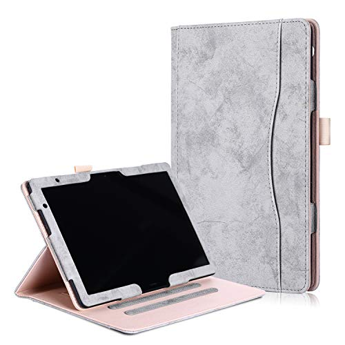 Case for Huawei MediaPad T5 / M5 lite 10 Inch, Ratesell Premium Leather Slim Multiple Viewing Angles Folding Stand Folio Cover Compatible with Huawei Mediapad T5 10 10.1 / M5 Lite 10 10.1 Inch Gray