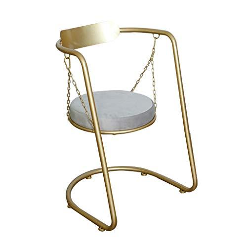 WRJ@ Silla de Comedor de Tela diseño Retro con Brazos Silla tapizada Vintage sillón con Patas de Metallo seleccion de,Interior y Exterior, jardín