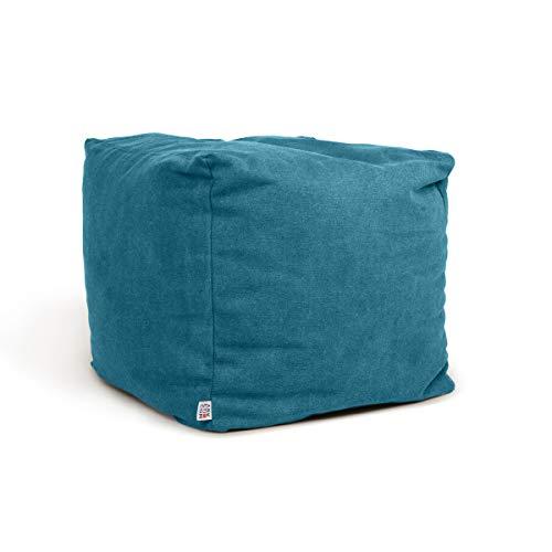 Arketicom Soft Cube Pouf Sacco Poggiapiedi Morbido Quadrato Sfoderabile Puff da Salotto 42x42 Turchese