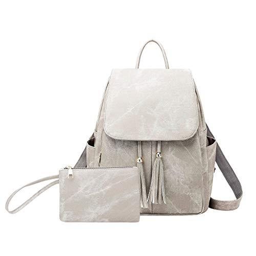 fhdc Zaino Tassel Backpack 2Pc Women Simple Trend Borse Moda Donna Messenger Tinta Unita Totes ShoulderZaini DaViaggioGrigio