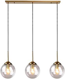 MZStech Loft Rétro Industriel Suspension à 3 lumières, lustre en bande, luminaire suspendu, raccords en laiton avec abat-j...