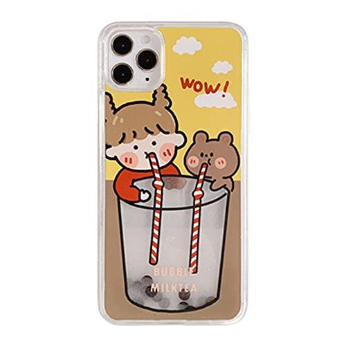 NZAUA Caja de teléfono móvil, diseño de té de Leche de Perla líquida Creativa e Interesante, Cubierta de la Espalda Dura de la PC de Oso Lindo, Cubierta Protectora Anti-co iphoneXs MAX