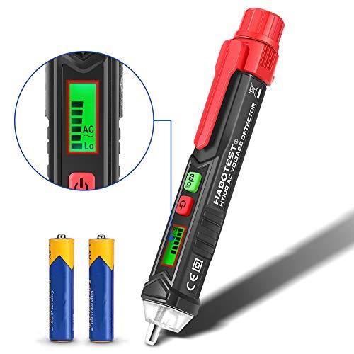 Contactloze Spanningsdetector, Contactloze Spanningsmeter AC 12V / 48V-1000V Instelbare Gevoeligheid Met LCD-Scherm en LED-Zaklamp, Intelligente Herkenning en Automatische Uitschakeling