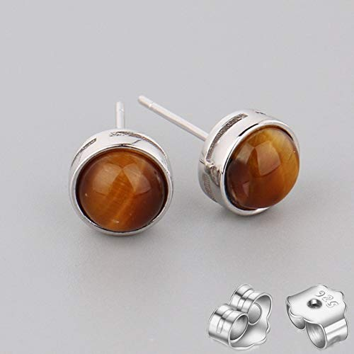 925 Silver Natural Stone Gold Stud Earring Pink Quartz Tiger Eye Crystal Moonstone Topaz Fine Jewelry Earring Gift 15.Yellow Tiger Eye