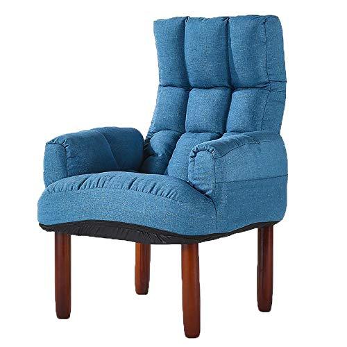 Schlafzimmer Faule Sofa Lehnsessel-Schlafzimmer-Wohnzimmer-Büro knöpfte Leinengewebe-Wannen-Stuhl Hohe Zurück Home Kleine Wohnung Wohnzimmer (Color : Blue, Size : 67 * 67 * 100cm)
