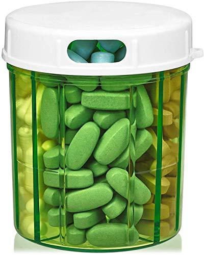 Dispenser per Organizzare le Pillole con 4 Scomparti, Porta Medicinali, Vitamine e Integratori Bottiglia Tonda Custodia Giornaliera per Pillole Scatoletta Promemoria