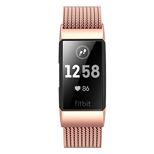 Fitlink Stainless Steel Metal Replacement Bands for Fitbit Charge 3/ Charge 3 SE/ Fitbit Charge 4 2020 for Women Men, Multi Color Multi Size (Rose Gold,Small(5.5 ''- 8.5''))