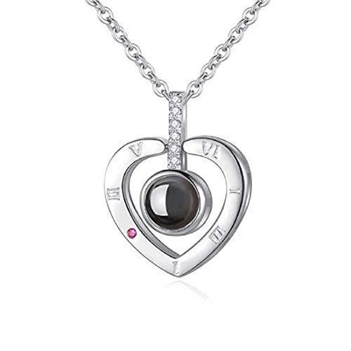 QueenDer Collar de mujer\Love Memories\ Collar de clavicula 100 idiomas I Love You Magia Zircon Proyeccion Cadena colgante para mujeres ninas (plata)