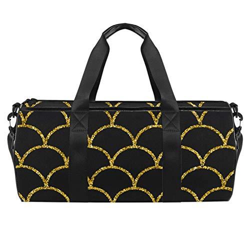 LAZEN Hombro Handy Sports Gym Bags Travel Duffle Totes Bag para hombres, mujeres, cola de sirena, patrón de escala de pez dorado