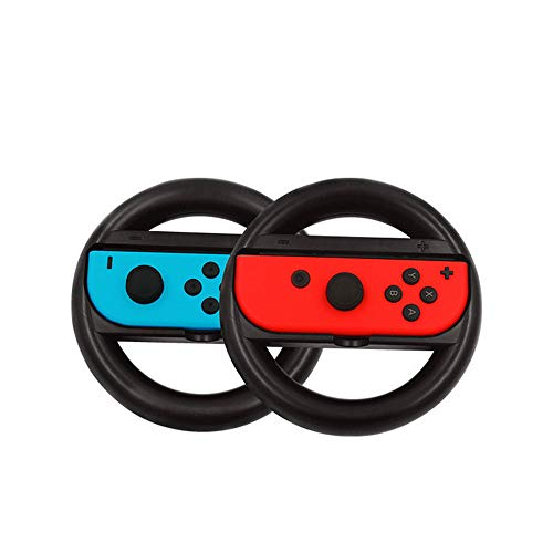 BJ-SHOP Volante Nintendo Switch,Joy-con Racing Wheel Controladores Handle Grips para Nintendo Ergonomic Design Switch Mario Kart (Azul y Rojo)