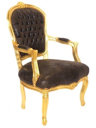 Casa Padrino Barock Salon Stuhl Braun Lederoptik / Gold - Möbel Antik Stil