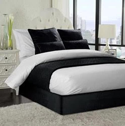 Somier de terciopelo francés suave para cama de 1,2 m, tamaño pequeño, 42 cm de profundidad, color negro
