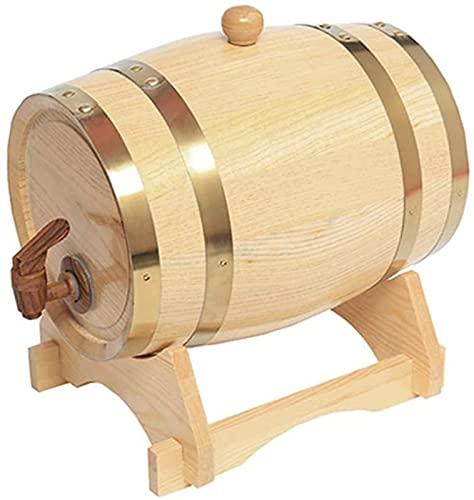 Barriles de Vino envejecidos de Roble de 1.5L Dispensador de barriles de Whisky para el hogar Cubo de Madera sin Fugas con Soporte de Madera y Grifo para almacenar Vino, licores, Cerveza y l