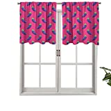 Hiiiman Cenefa moderna para ventana, diseño de berenjenas a rayas sobre un fondo magenta, vegano, juego de 2, 42 x 36 pulgadas, paneles opacos decorativos para el hogar para sala de estar