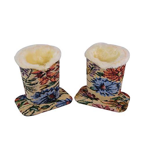 Baitaihem Pack of 2 Plush Lined Eyeglasses Holder Stand Protective Glasses Case For Desks Or Nightstands(Floral Design)