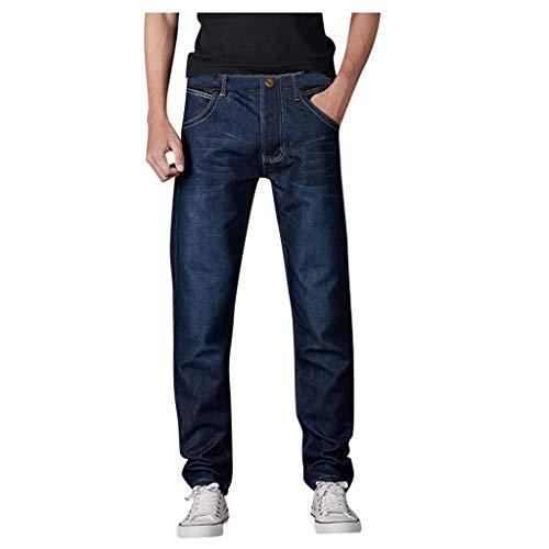 Dayboom Herren Jeans Hose Regular Loose Fit Denim Straight Lange Thermohose Warm Flanell Gefüttert Jeanshose für Männer Coole Jungen Stretch Freizeithose Winter (Blau, 33)