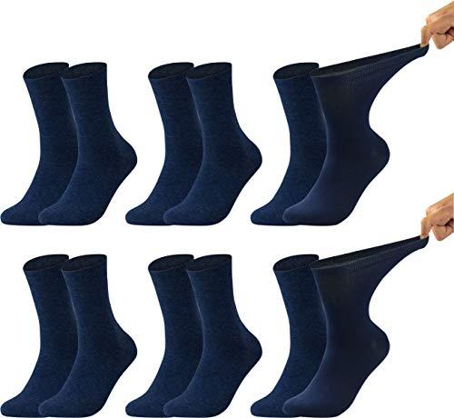 Vitasox 11123 Damen Gesundheitssocken extra weiter Bund ohne Gummi, Venenfreundliche Socken mit breitem Schaft verhindern Einschneiden & Drücken, 6 Paar Marine 39/42