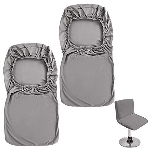 Btsky, Barhocker-Schonbezüge mit Rückenlehnenbezug, 2 Stück, Stretch-Stuhlbezug für kurzen Drehstuhl, Esszimmerstuhl, Barhocker mit Rückenlehne (ohne Stühle) grau
