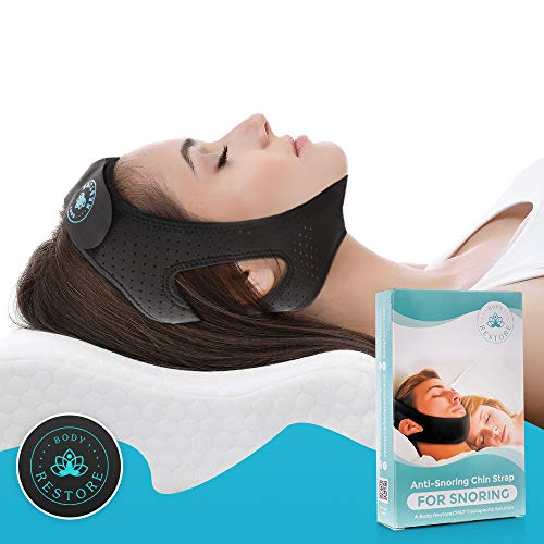 Anti Snoring Chin Strap Devices - Premium Quality, Breathable & Comfortable Material, Snore Stopper, Non-Itchy, Adjustable for All Sizes - Better Sleep Aid for Men and Women - BodyRestore