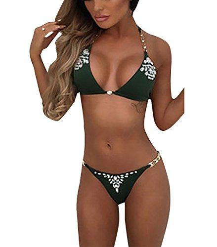 Loralie Damen Mode Bikini Set mit Diamant Push-Up Bademode Neckholder Strand Badeanzug (M, Grün)