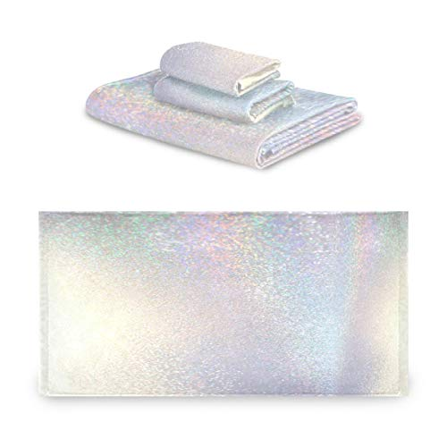 Pac Mac - Juego de 3 toallas de algodón con purpurina blanca brillante, súper suave (1 toalla de baño, 1 toalla de mano, 1 toalla, 1 toalla) para baño, hotel y spa