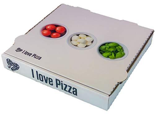 I Love Pizza Pizzakarton mit Motiven - Frischfaserpapier 100Stück - 33x33x4 cm - Bilderdruck (Tomate - Mozzarella)