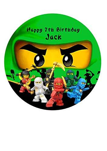 Ninja Green Cake Topper Icing Sugar Paper 7.5'Personalized