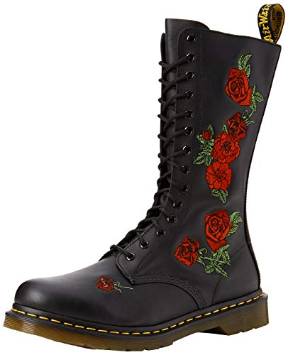 Dr. Martens VONDA Embroidery BLACK, Damen Combat Boots, Schwarz (Black), 39 EU (6 Damen UK)