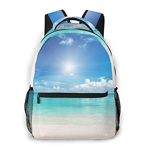 XMTMR-Glass Mochila para adolescentes, hombres, mujeres, paquete de almacenamiento,Sunshine Blue Sea Ocean Beach, Mochila para portátil de viaje para estudiantes de escuela informal de negocios